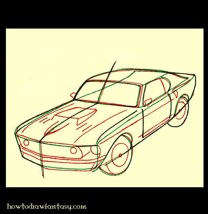 how to draw a rally car step by step