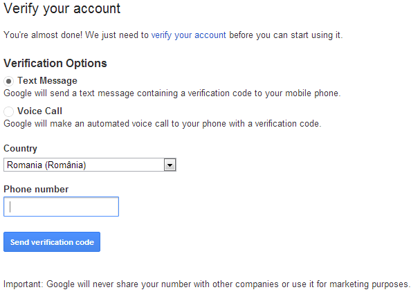 how to create a gmail account without sms verification